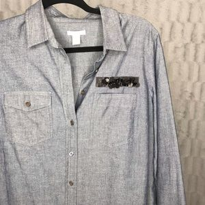J. Crew Chambray Sequin Beaded Button Down Top
